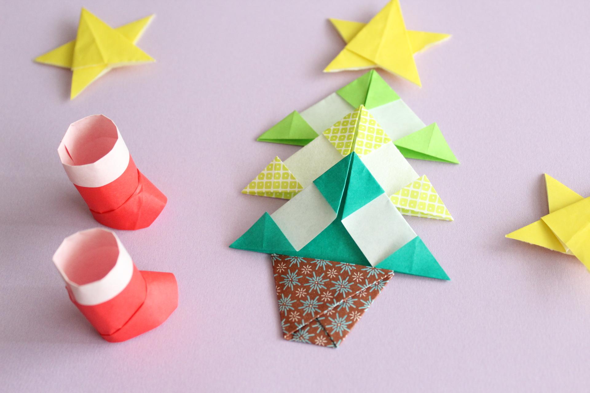 折り紙でクリスマスツリーの折り方