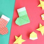 折り紙で靴下の折り方!平面なので飾り付けにピッタリ!