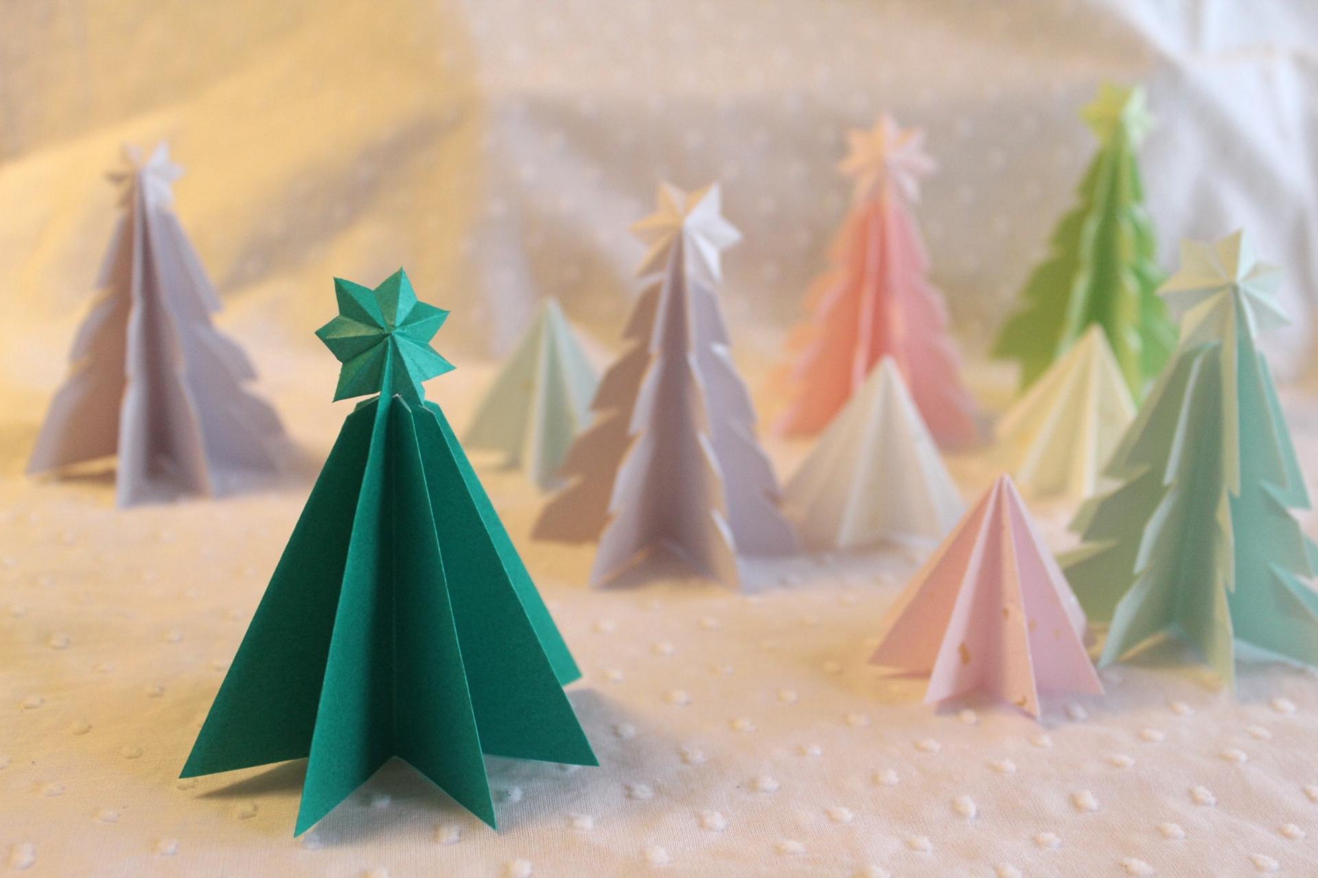 折り紙で立体的なクリスマスツリーの折り方