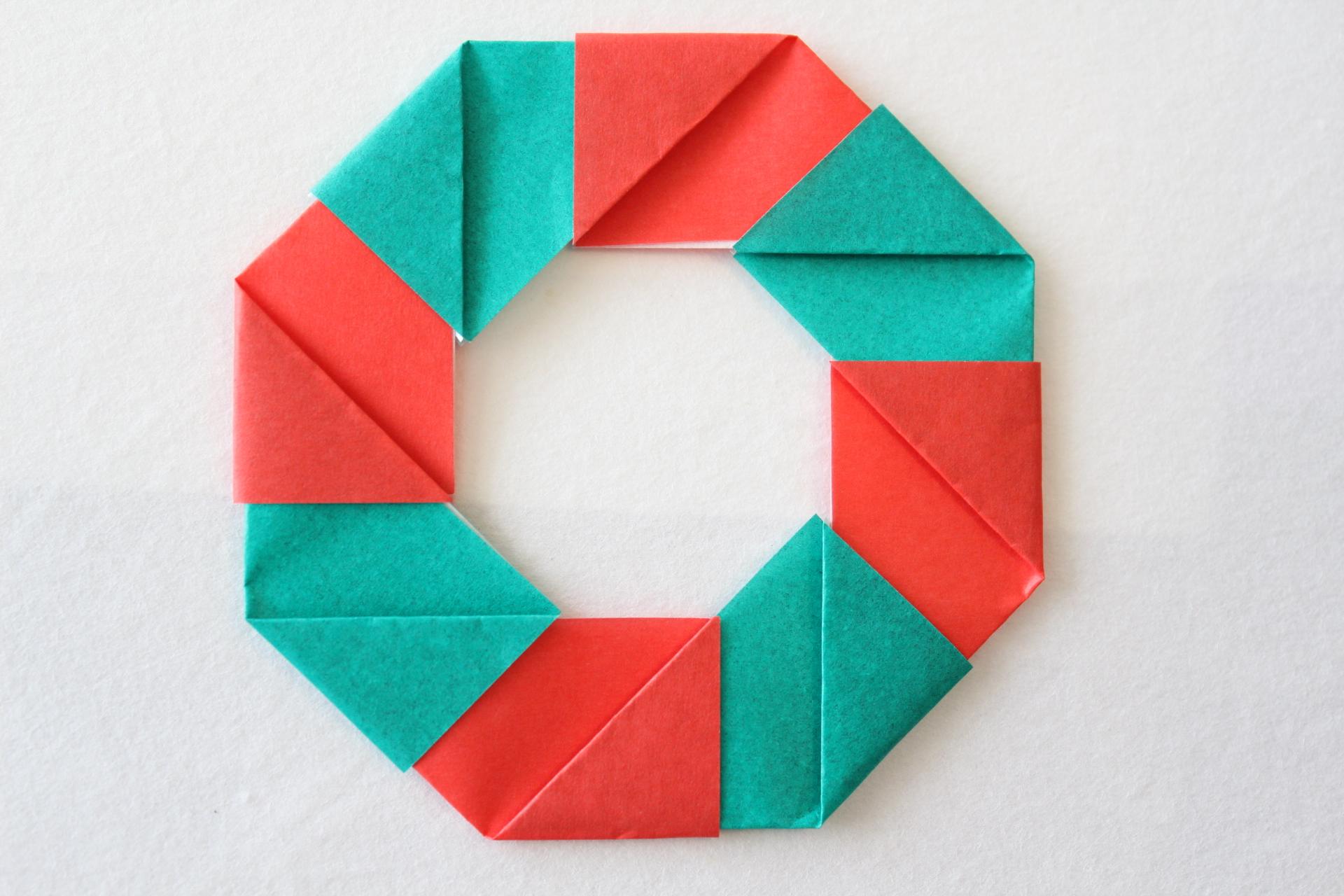 クリスマスリースの折り方5