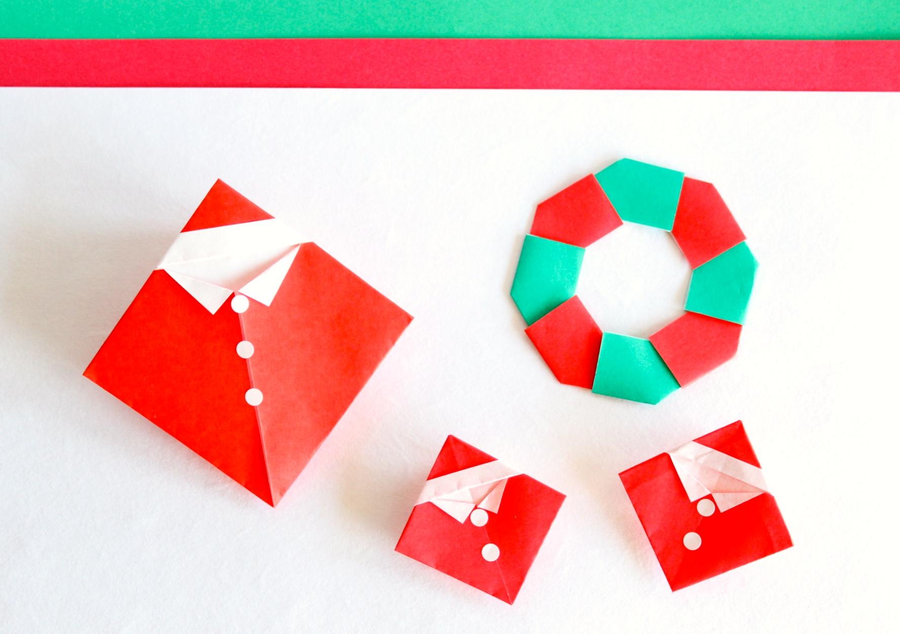 折り紙でサンタの折り方