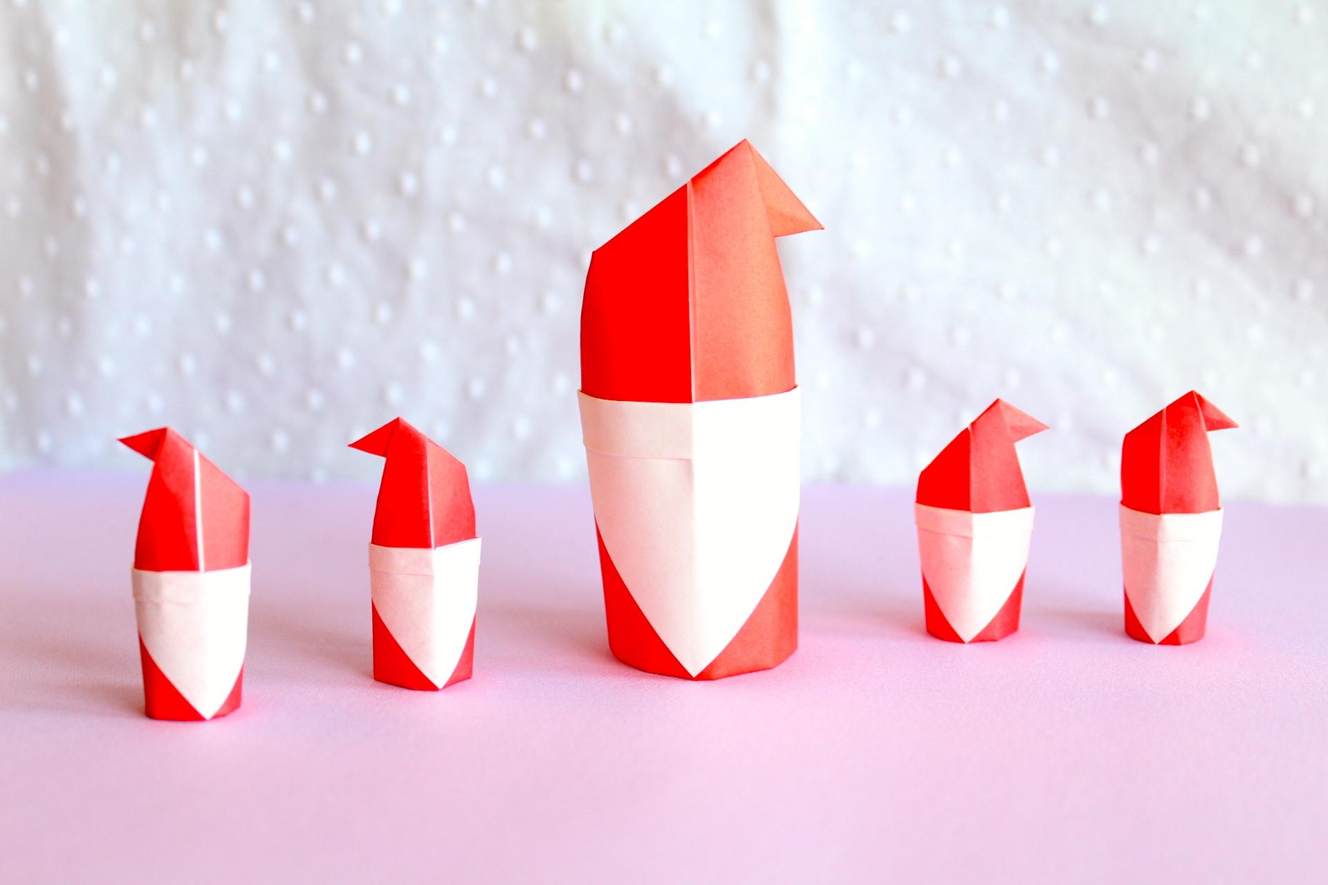 折り紙で立体的なサンタクロースの折り方