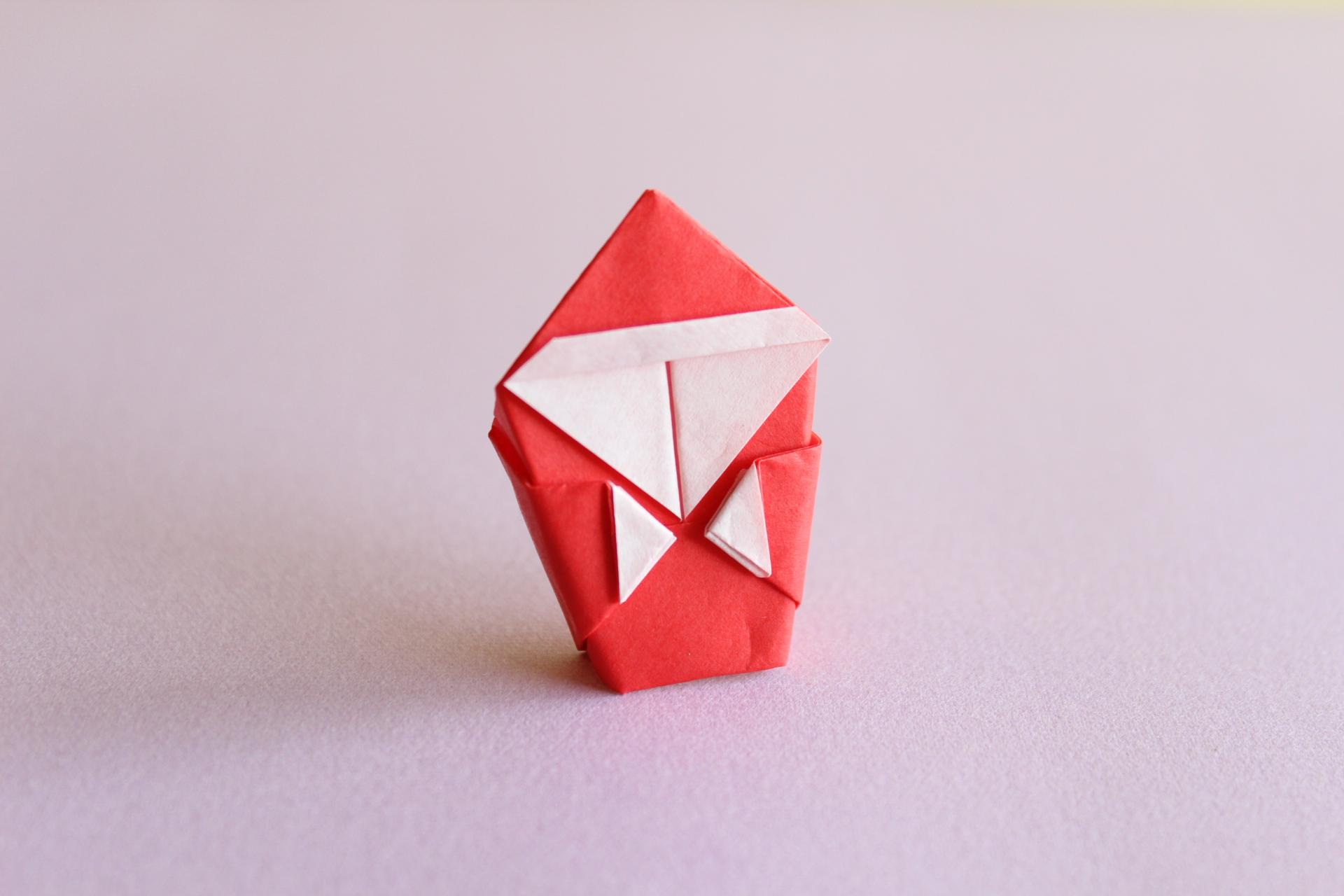 折り紙サンタの完成