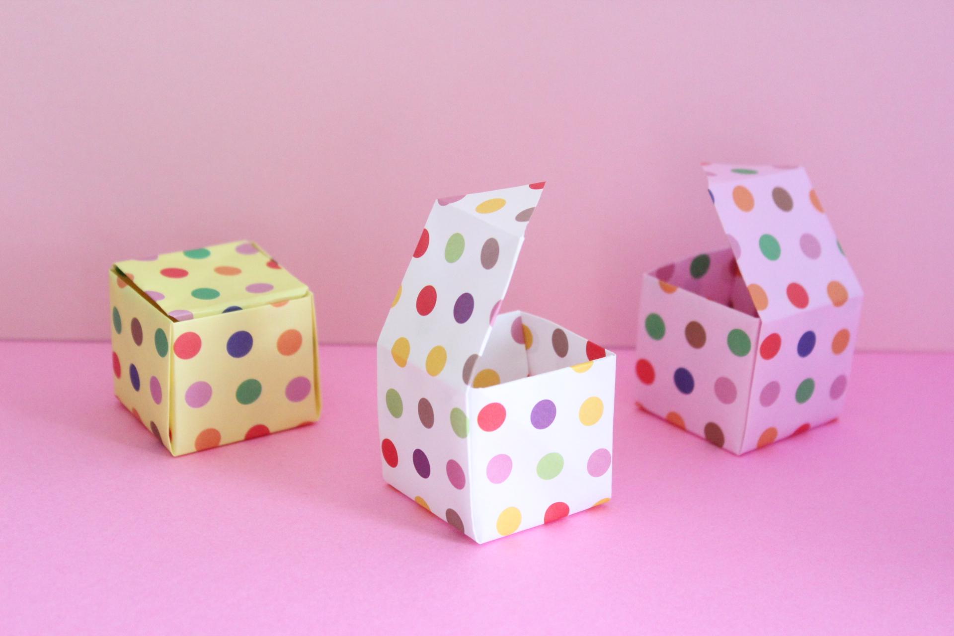 折り紙1枚でフタ付きの箱の折り方