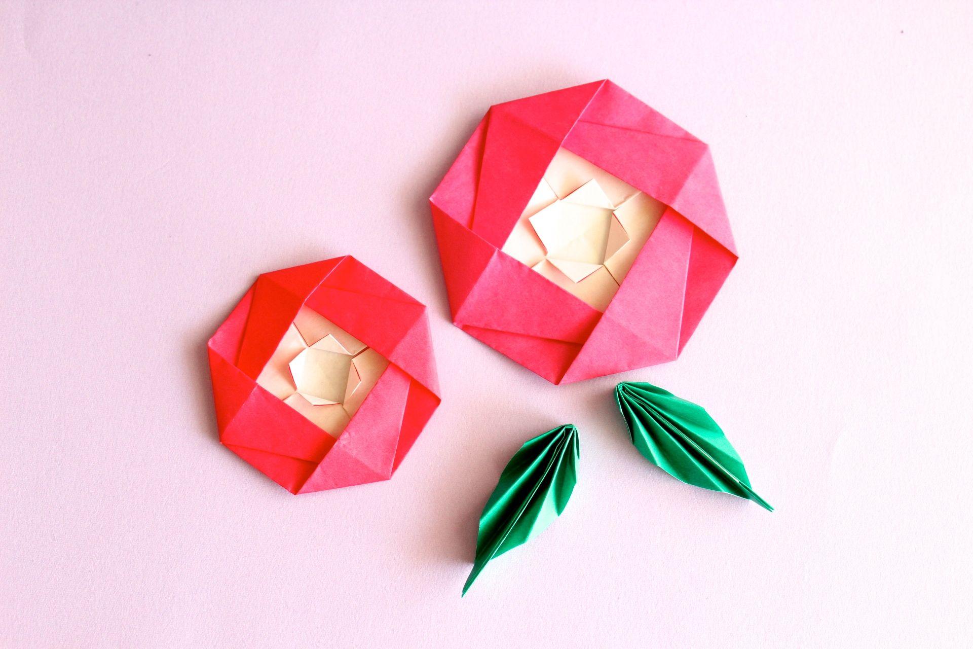 折り紙で椿の折り方
