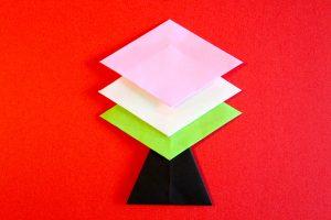 折り紙で菱餅の折り方