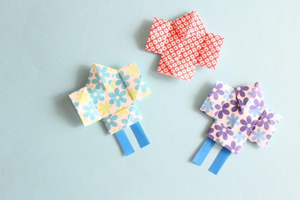 折り紙で凧揚げ