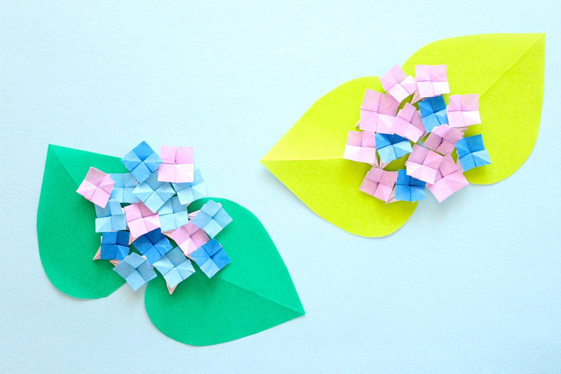 折り紙であじさいの折り方