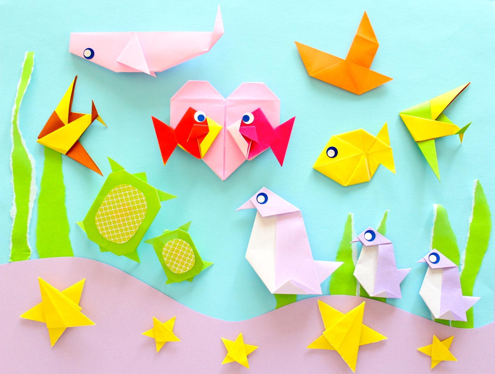 8月の魚(さかな)の折り紙