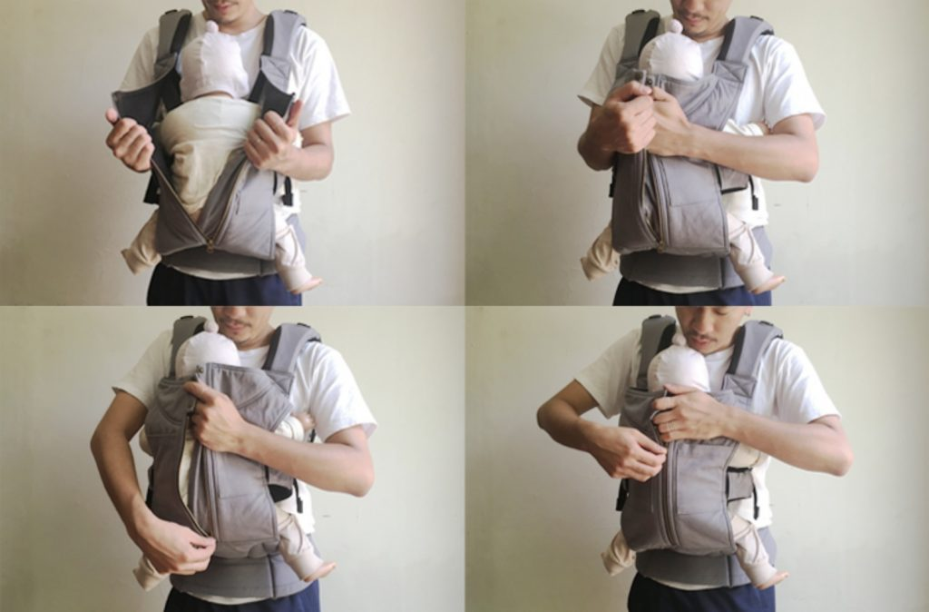 キューズベリーの抱っこ紐の付け方